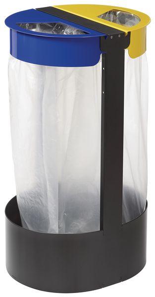 Support de sacs poubelles duo pour tri sélectif et plan Vigipirate