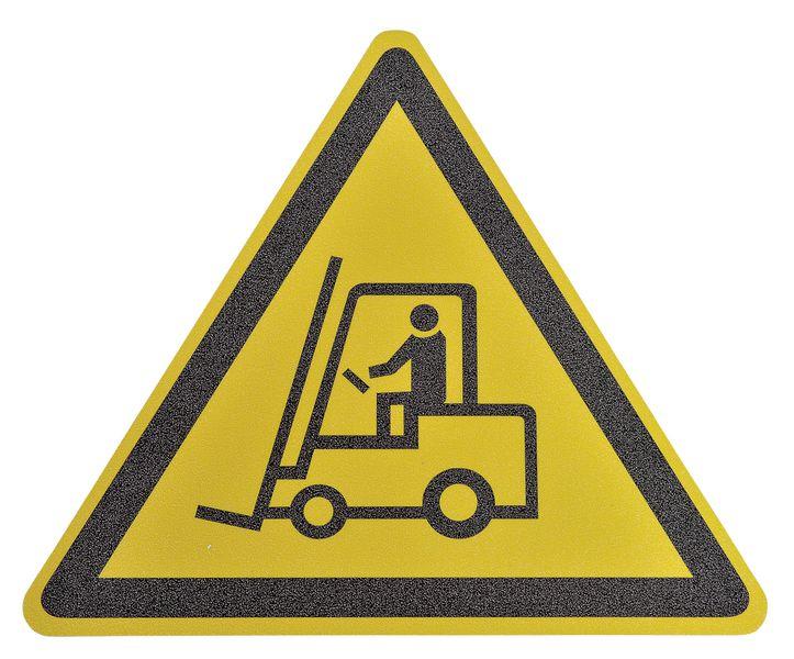 """Pictogramme antidérapant au sol """"Danger chariot élévateur et autres véhicules industriels"""""""