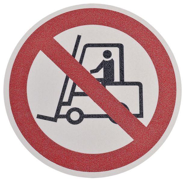 """Pictogramme antidérapant au sol """"Interdit chariot élévateur et autres véhicules industriels"""""""
