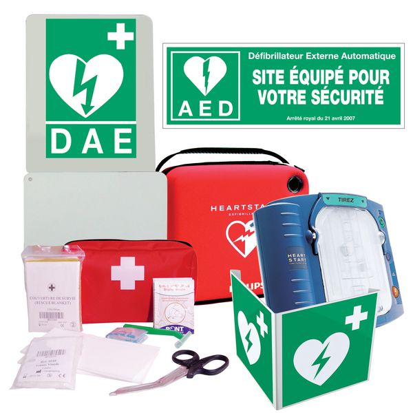 Pack complet défibrillateur HS1 Philips + trousse de secours offerte
