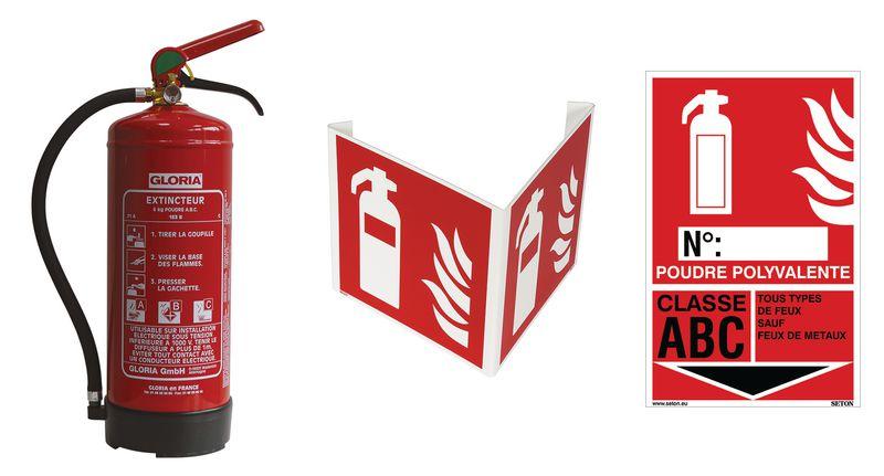 Kit extincteur à poudre avec signalisation