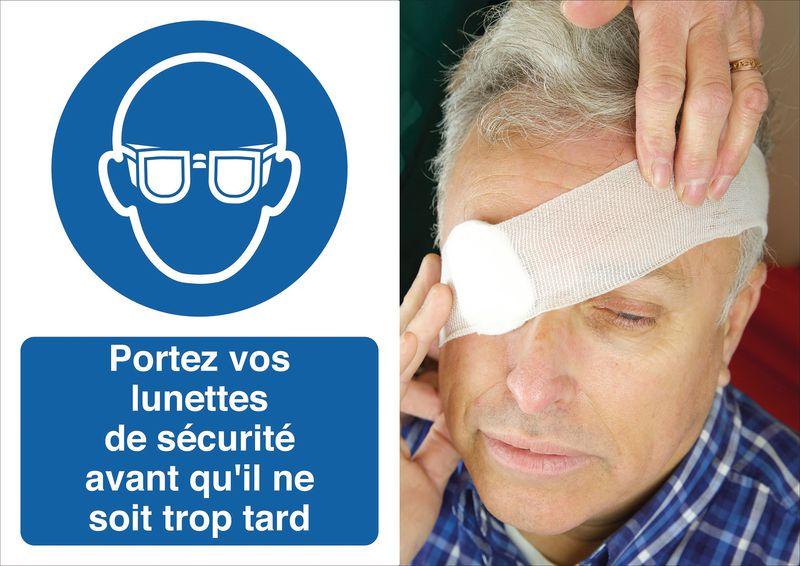 Poster de sécurité - Portez vos lunettes de protection - M004