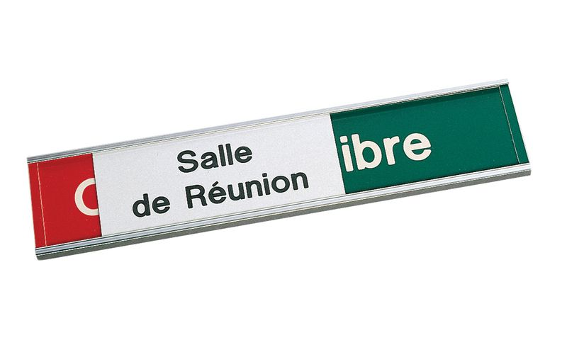 Plaque gravée Occupé/Libre avec panneau coulissant - Salle de réunion
