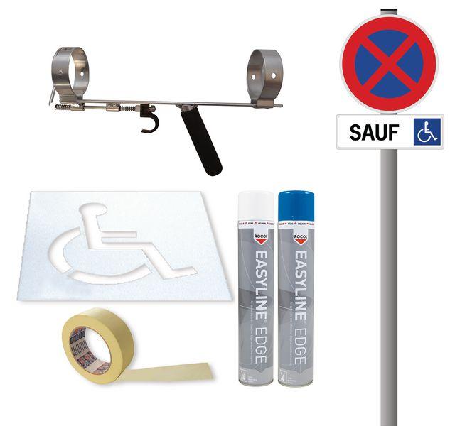Kit de signalisation pour place réservée aux personnes handicapées