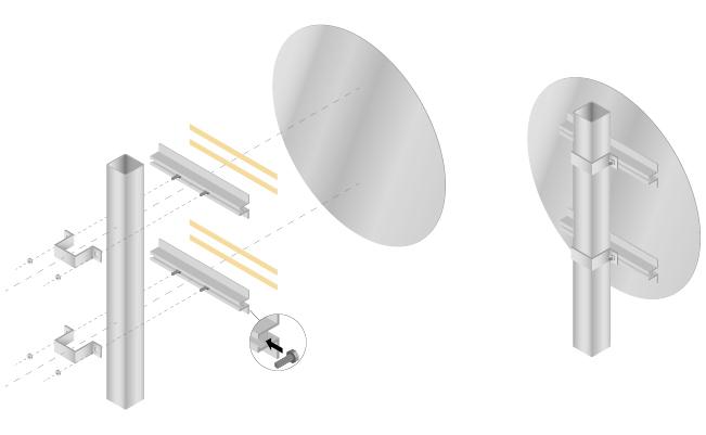 Système de fixation pour panneaux plats modèle carré