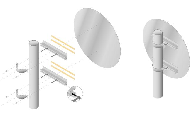 Système de fixation pour panneaux plats modèle rond
