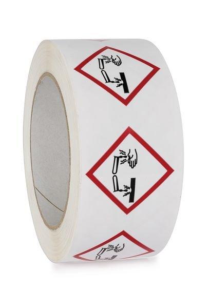 """CLP-verpakkingstape van polypropyleen """"Corrosieve stoffen"""" - GHS05"""