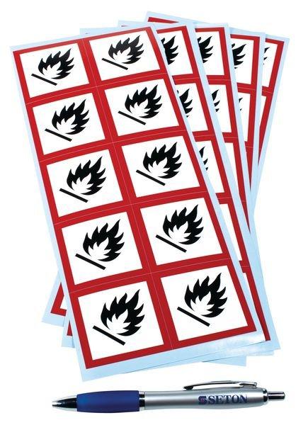 """CLP-waarschuwingsstickers op vel """"Ontvlambare stoffen"""" - GHS02"""