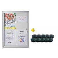 Vitrine voor binnen met whiteboard achterwand + 10 magneten