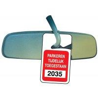 Personaliseerbare parkeerbadges voor achteruitkijkspiegel