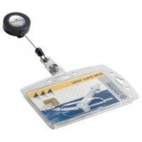Harde, plastic badgehouder met oprolmechanisme