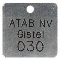 Personaliseerbare, geponste ventielplaatjes van inox of aluminium