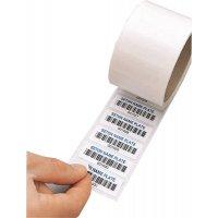 Personaliseerbare eigendomsetiketten met barcode, dubbele kleeflaag