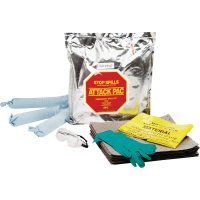 Wegwerp kit met absorptiemiddelen voor olie, in draagtas