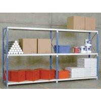 Modulaire magazijnstelling met buislegborden en spaanplaat, voor (middel)zware lasten