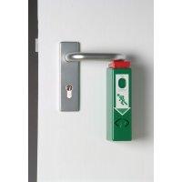 Compact alarm voor deurklink van nooduitgang, te verbinden met andere alarmen
