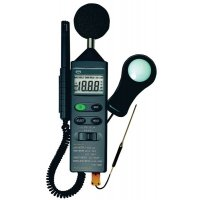 Geluidsmeter, luxmeter, thermometer en hygrometer