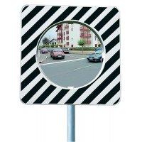 Verkeersspiegel voor stadsgebruik, zwart en wit