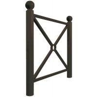 Metalen hekwerk met andreaskruis, verschillende configuraties