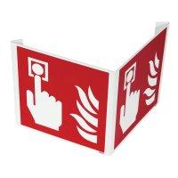 """Haakse of wigvormige brandveiligheidsborden ISO 7010 """"Brandalarm"""" - F005"""