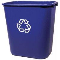 Blauwe vuilnisbak van polyethyleen, met recycling logo