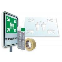 """Verzamelplaatsbord met kit voor grondmarkering """"Verzamelplaats"""""""
