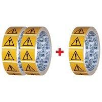 """Set van 3 rollen waarschuwingsstickers ISO 7010 """"Algemeen gevaar"""" - W001 (2+1 gratis)"""