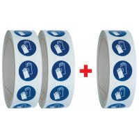 """Set van 3 rollen gebodsstickers ISO 7010 """"Veiligheidshandschoenen verplicht"""" - M009 (2+1 gratis)"""