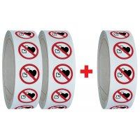 """Set van 3 rollen verbodsstickers ISO 7010 """"Verboden voor personen met pacemaker"""" - P007 (2+1 gratis)"""