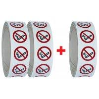 """Set van 3 rollen verbodsstickers ISO 7010 """"Verboden te roken"""" - P002 (2+1 gratis)"""