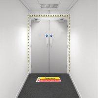 Kit visuele barrière met muurtape en vloermarkering - Gevaar Toegang voorbehouden - W001