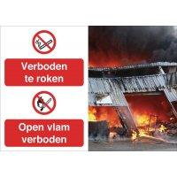 Veiligheidsposter gevolgen - Roken en open vlam verboden - P002 P003