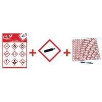"Kit met CLP-waarschuwingsstickers en poster ""Gas onder druk"" - GHS04"
