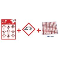 "Kit met CLP-waarschuwingsstickers en poster ""Corrosieve stoffen"" - GHS05"