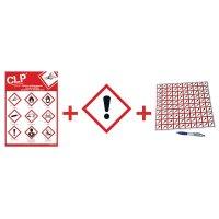 """Kit met CLP-waarschuwingsstickers en poster """"Gevaar voor de gezondheid"""" - GHS07"""