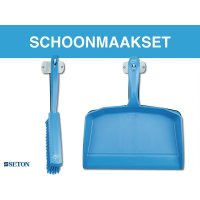 Cleaning station: schaduwbord met stoffer en blik