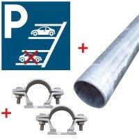 """Kit: parkeerbord """"verplicht achteruit parkeren"""" met bevestigingsmiddelen"""
