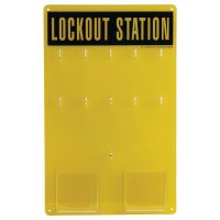 Geel lockout station voor lockout en tagout materiaal