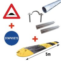 Kit: snelheidsdrempel + verkeersborden + bevestigingsmateriaal