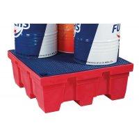 Opvangpallet voor 4 vaten van polyethyleen
