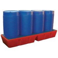 Lange opvangbak van polyethyleen voor 4 vaten