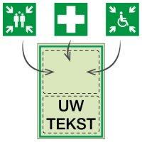 Personaliseerbare fotoluminescente EHBO en evacuatieborden en -stickers