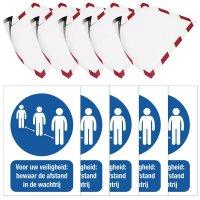 Kit van stickers en affichehouders - Bewaar de afstand in de wachtrij