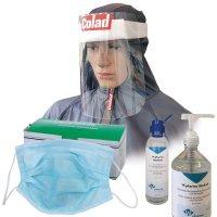 Kit voor professionals met chirurgische maskers, gelaatsschermen en handgel