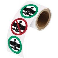 """Herkleefbare stickers op rol """"Hier wel/niet zitten"""""""