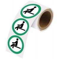 """Herkleefbare stickers op rol """"Hier gaan zitten"""""""