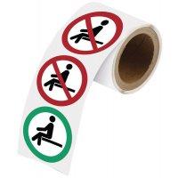 """Herkleefbare stickers op rol """"Hier wel/niet gaan zitten"""""""
