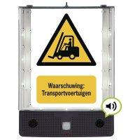 Sprekend veiligheidsbord - Waarschuwing: Transportvoertuigen - W014