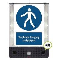 Sprekend veiligheidsbord - Verplichte doorgang voetgangers - M024