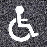 Thermoplastische vloermarkering: parkeerplaats voor rolstoelgebruikers